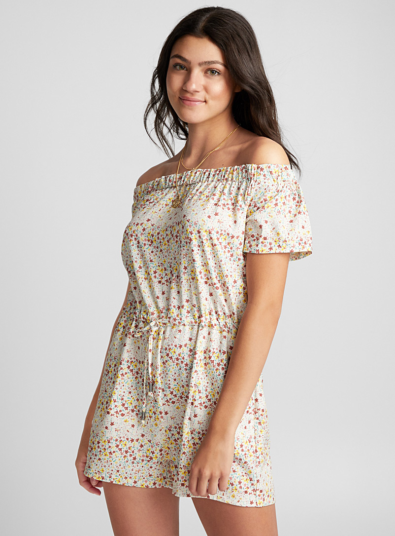 Off-the-shoulder romper - Rompers - Patterned White
