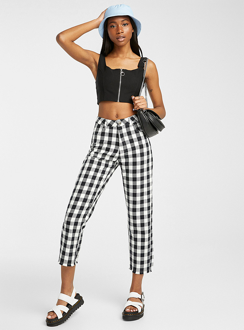 Afends Black and White Shelby gingham pant for women