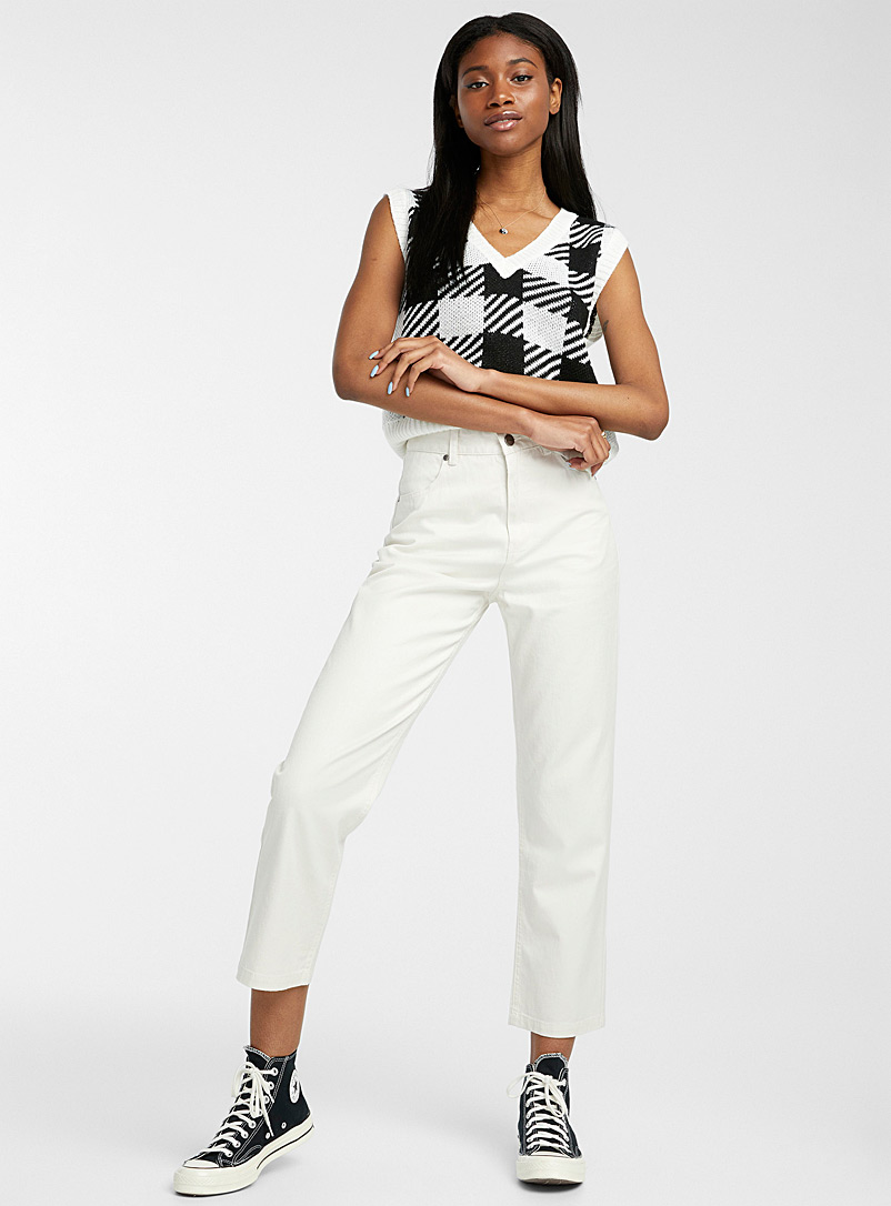 Afends White Shelby hemp-cotton pant for women