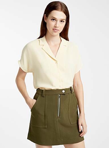 Pyjama-collar check shirt