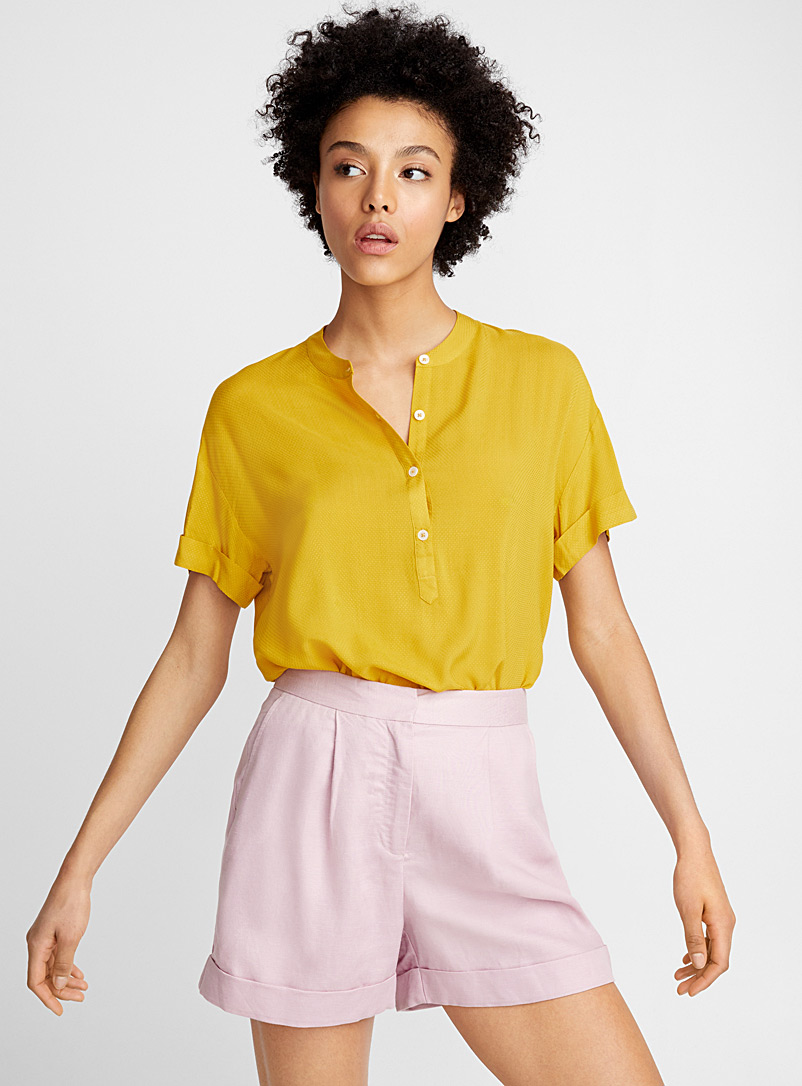 Textured officer collar blouse - Blouses - Golden Yellow