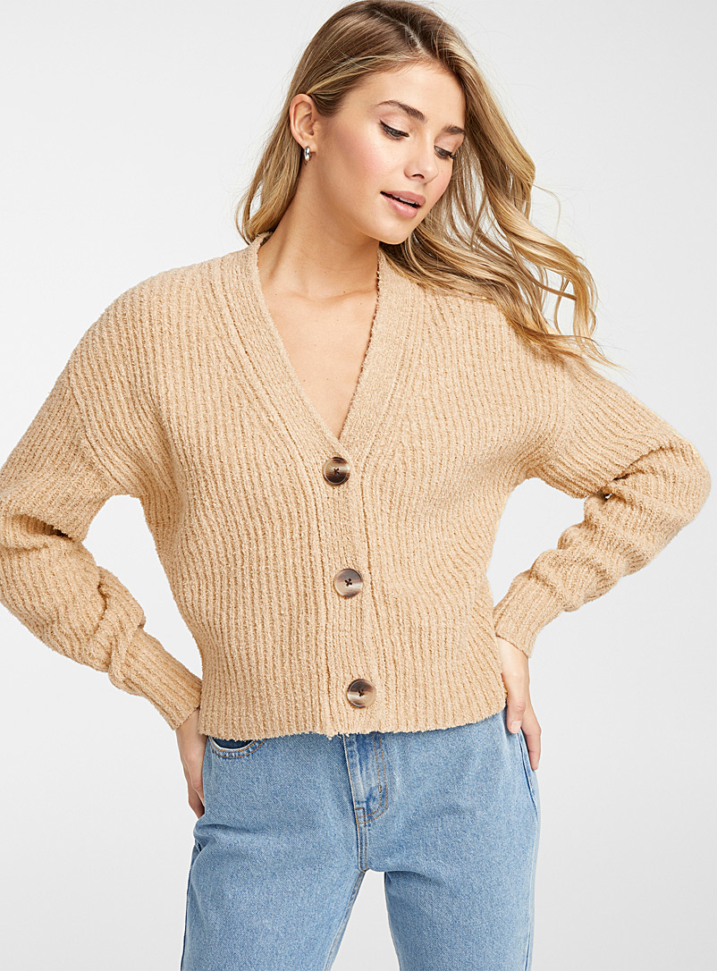 Frank And Oak Sand Textured buttoned cardigan for women
