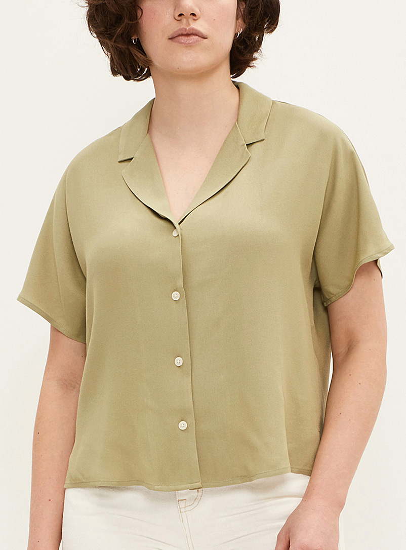 Frank And Oak Green Lapel collar blouse for women