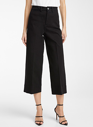 Frank And Oak Black Josephine wide-leg pant for women