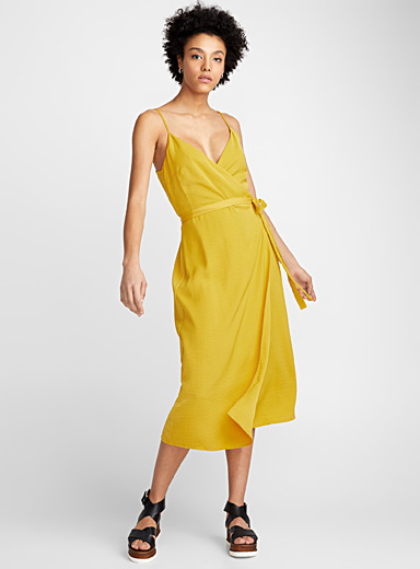 Amber sheen wrap dress