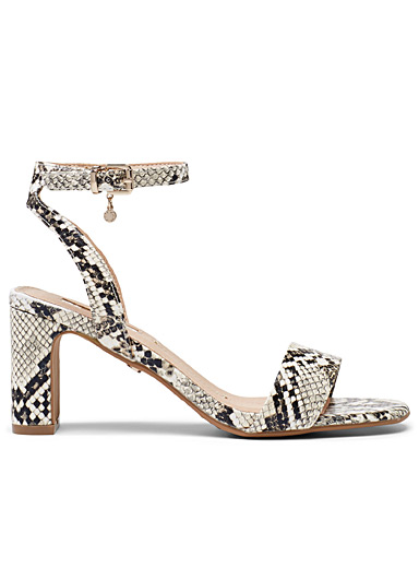 Office Patterned White Makeover heeled sandals for women