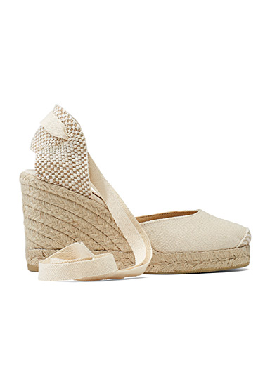 Office Cream Beige Marmalade wedge espadrilles for women