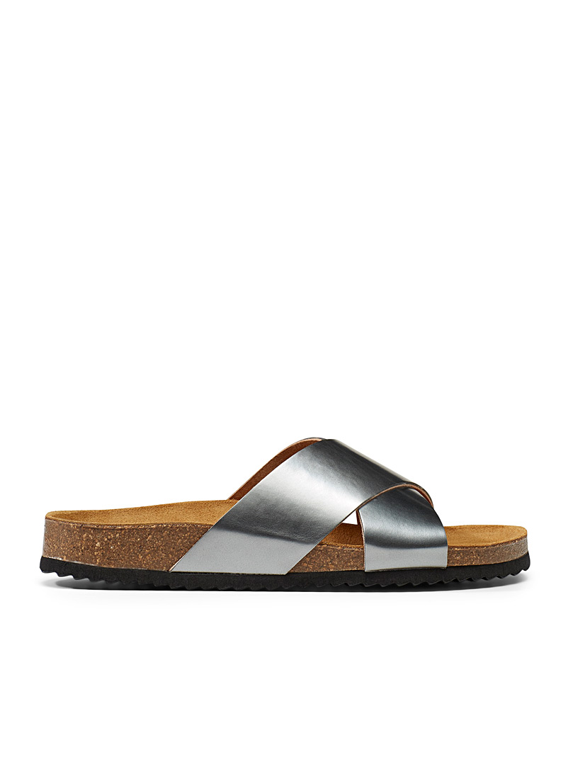 Office Silver Hoxton cross-strap sandals for women