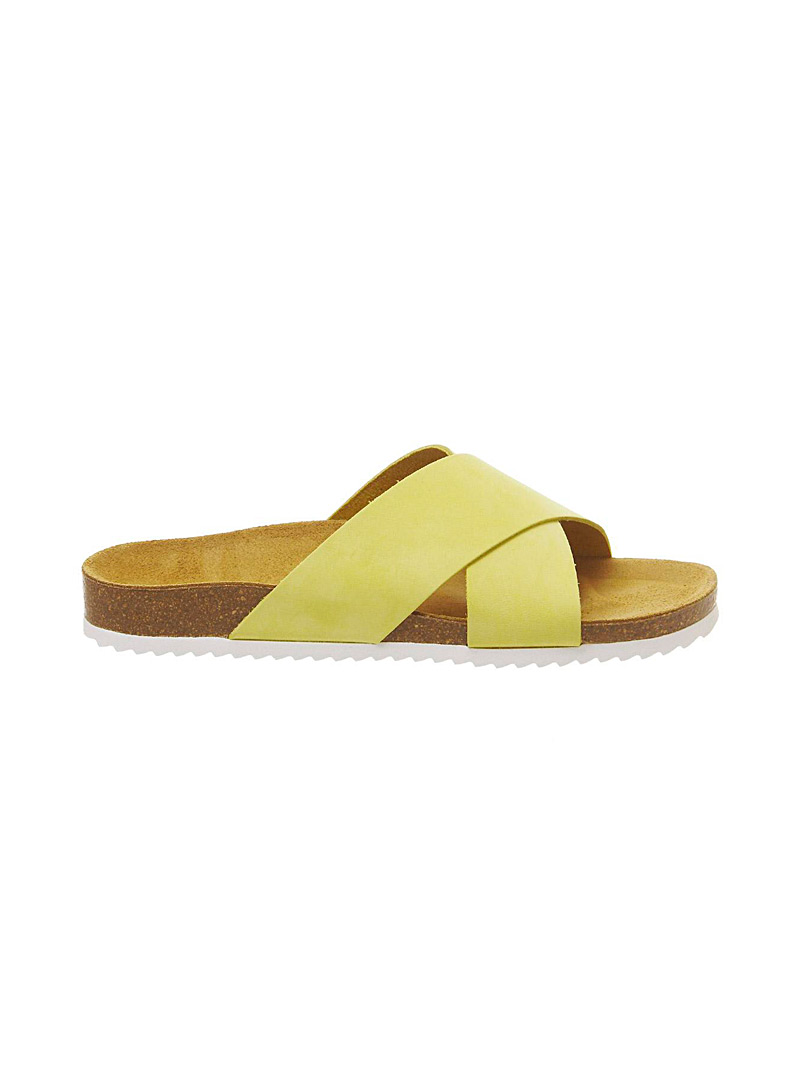 Office Golden Yellow Hoxton cross-strap sandals for women