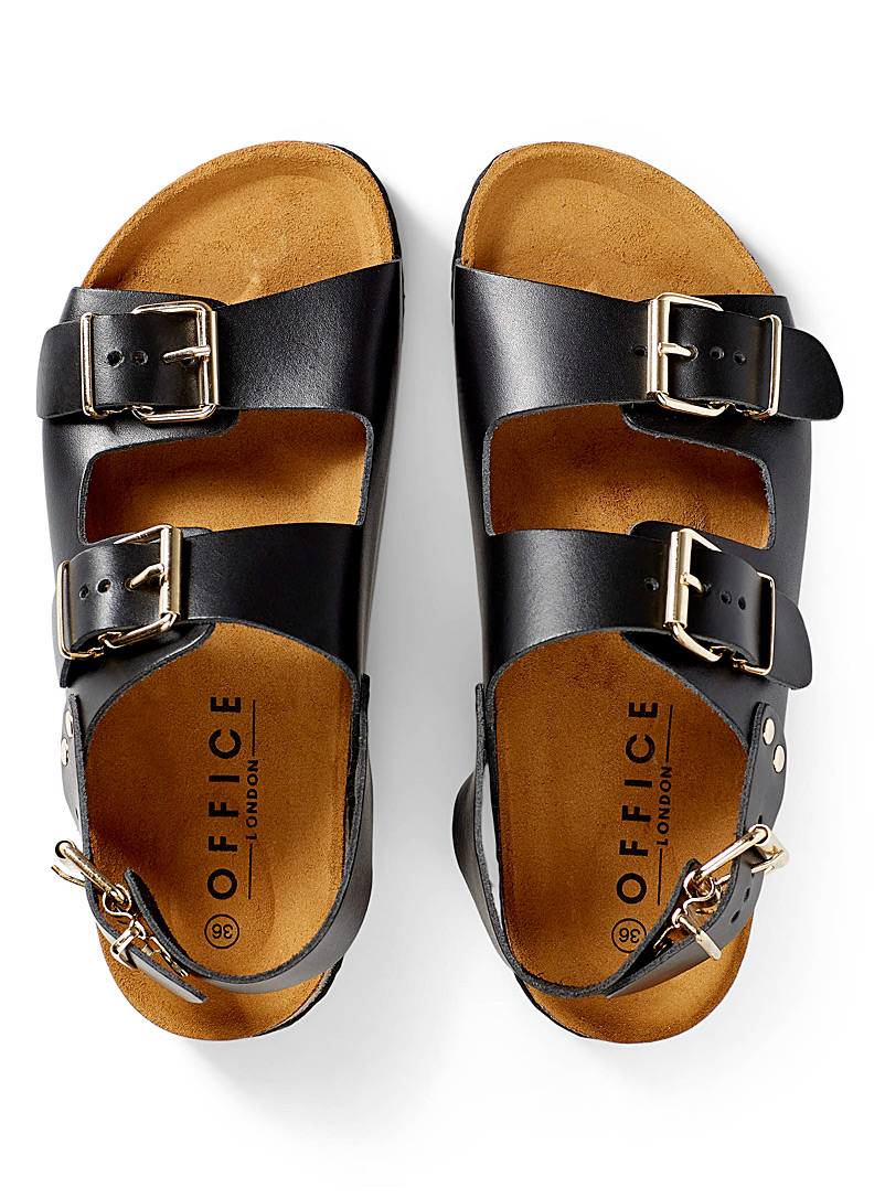 Office Black Multi-strap leather sandals for women