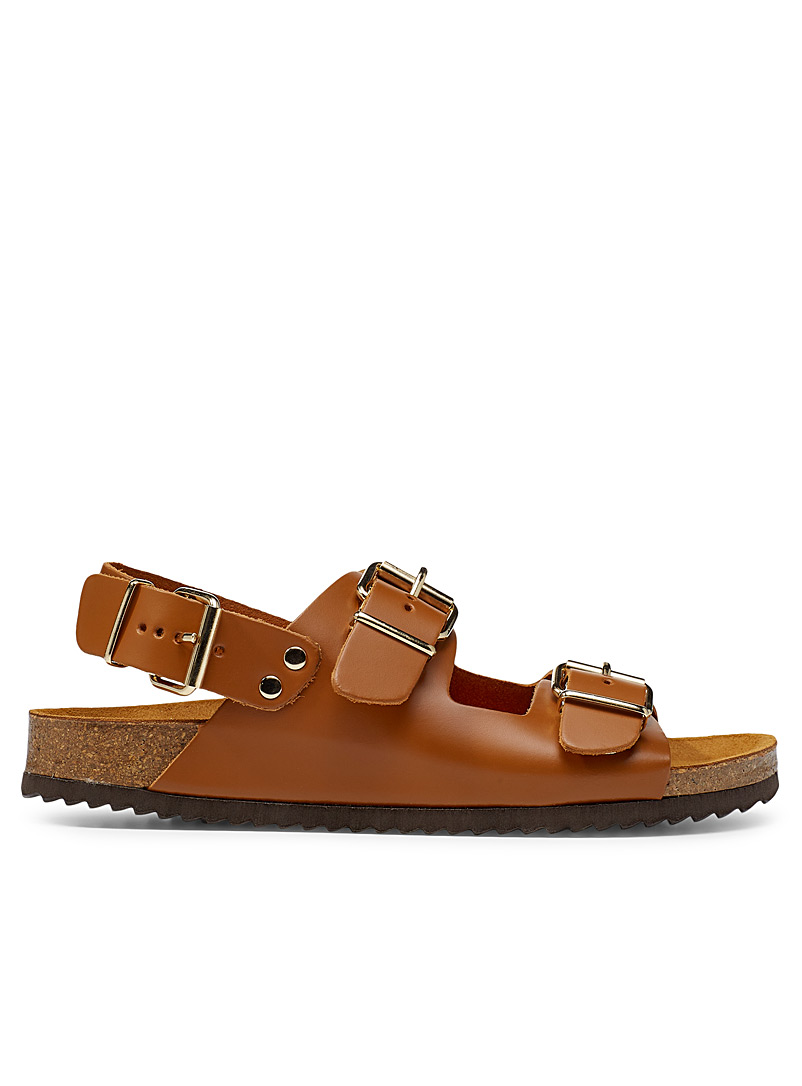 Office Brown Multi-strap leather sandals for women