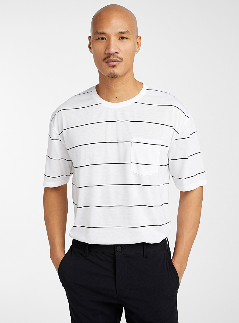 Le 31 White Graphic stripe T-shirt for men