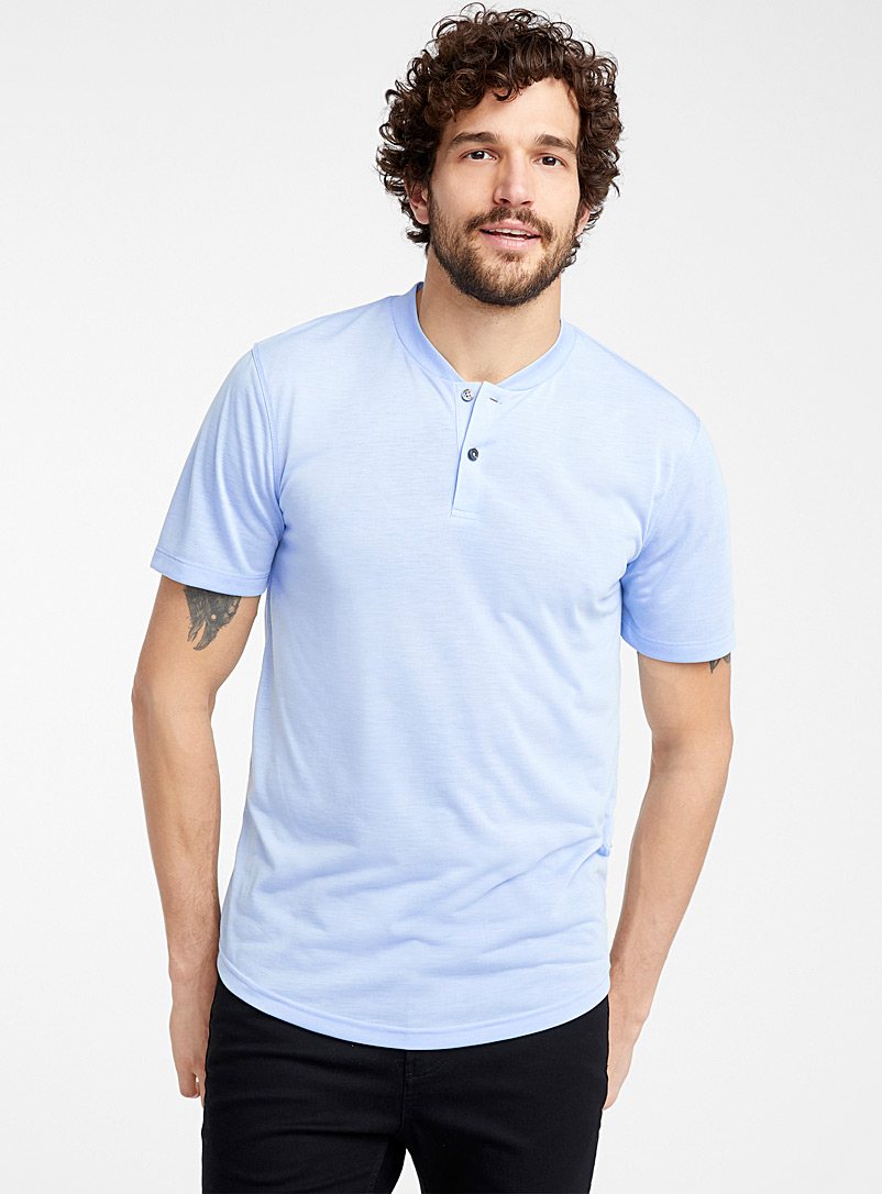 Le 31 Baby Blue Henley T-shirt for men