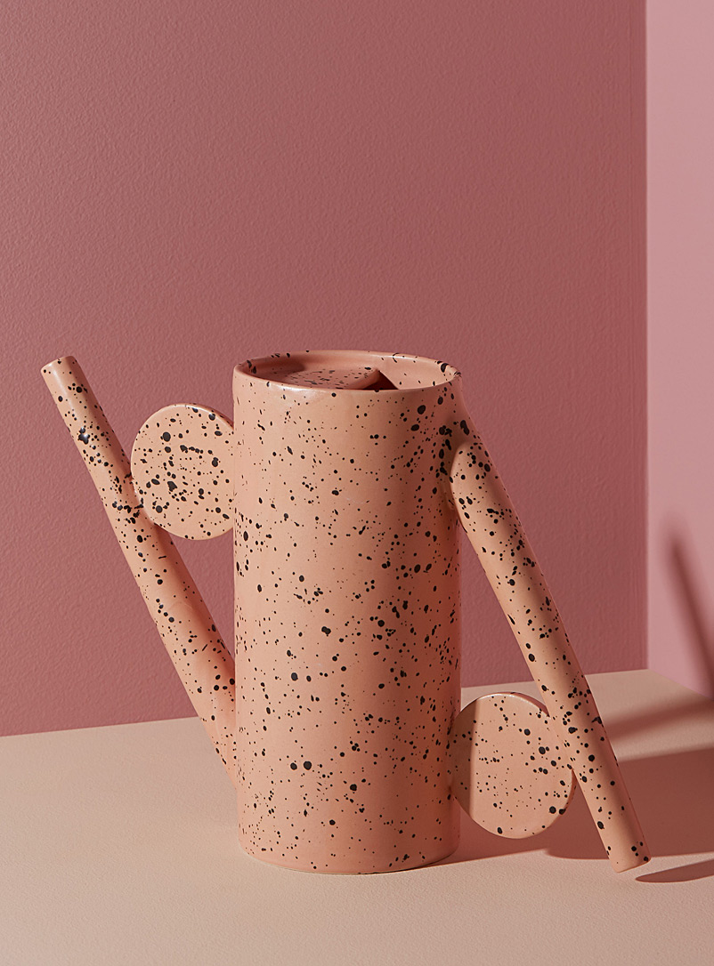 Flecked stoneware decorative watering can - YYY - Pink