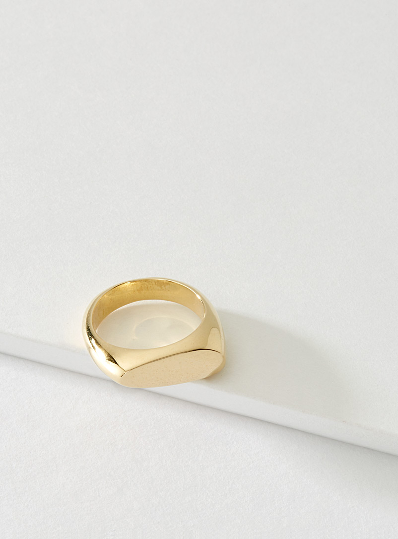Cadette Gold Signet asymmetric brass ring