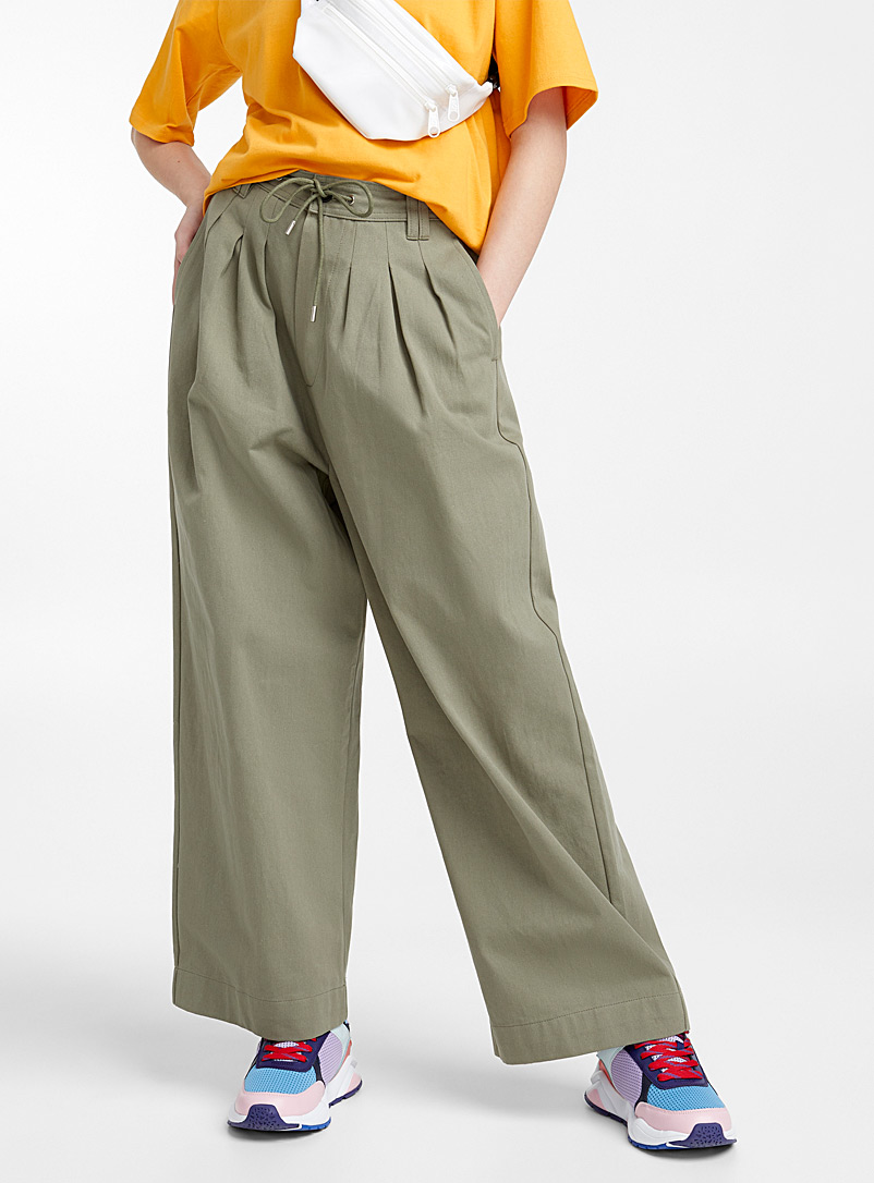 Le pantalon ample plis accent - Droits - Vert