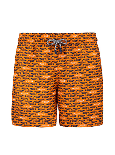 Palmacea Patterned Orange School of fish swim short for men