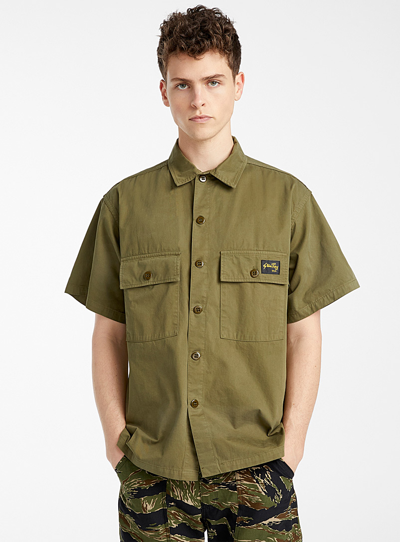 Stan Ray Mossy Green Short-sleeve utility shirt for men