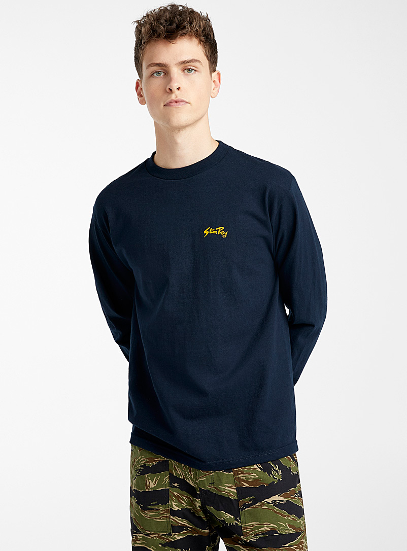 Stan Ray: Le t-shirt logo workwear manches longues Marine pour homme