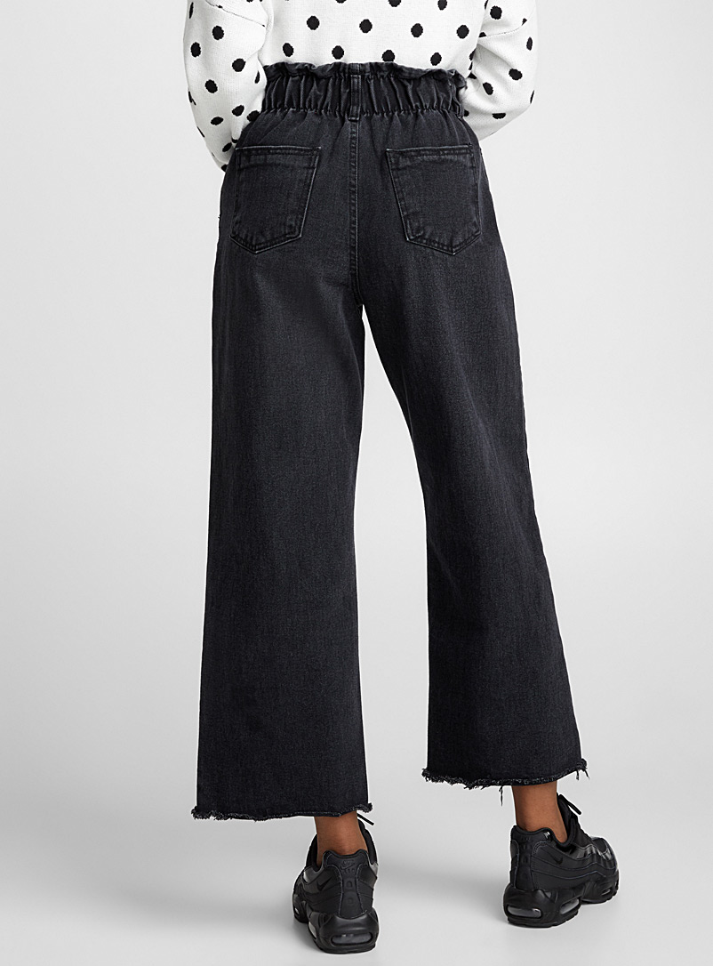 Ruched-waist frayed jean - High Rise - Black