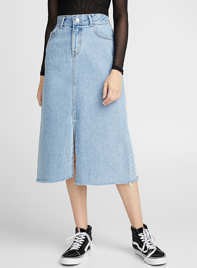 Frayed denim midi skirt - Midi
