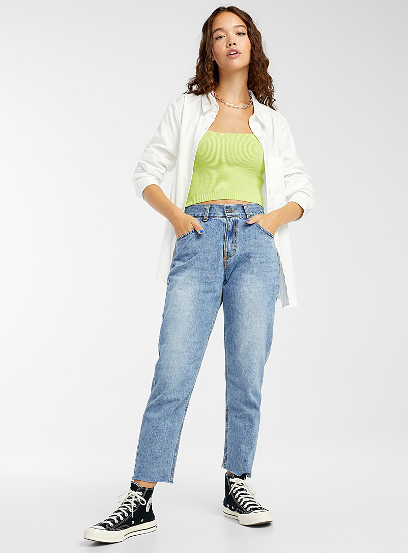 Twik Blue Elastic high-rise mom jean for women