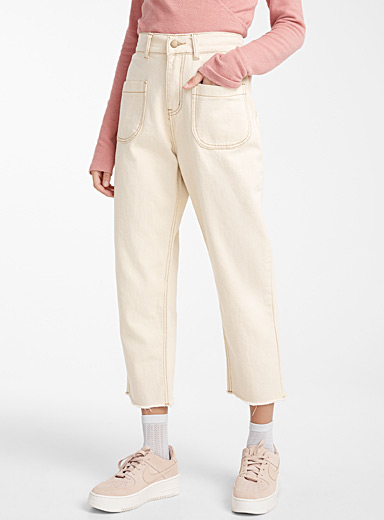 Patch pocket ivory jean