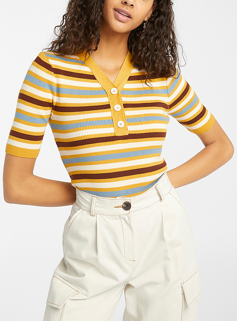 Twik Golden Yellow Multi stripe ribbed polo for women