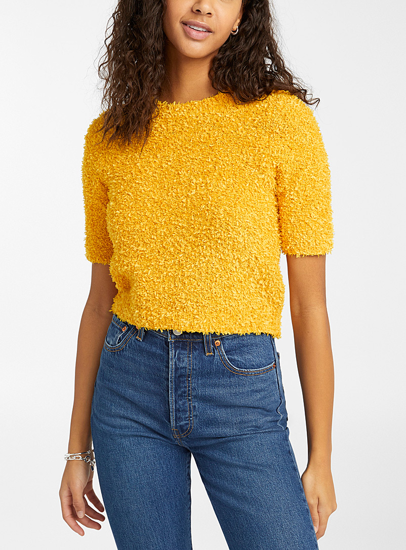 Twik Golden Yellow Paper textured knit sweater for women