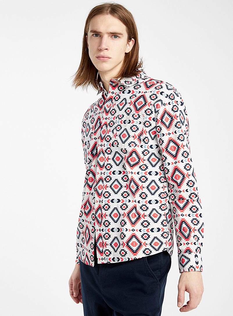 Super Massive White Aztec shirt for men
