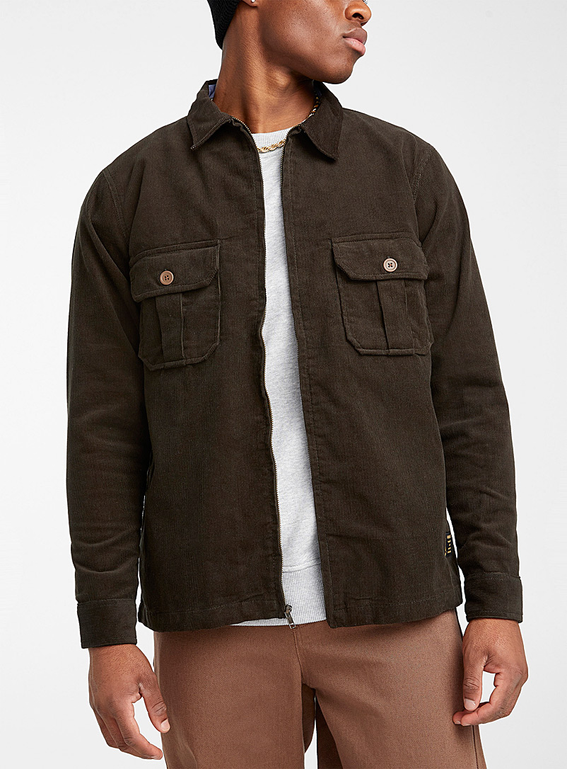 Corduroy zipped overshirt