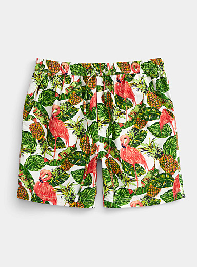 Super Massive White Tropical kitsch pull-on short for men