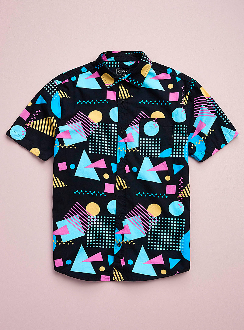 Super Massive Black Memphis geo shirt for men