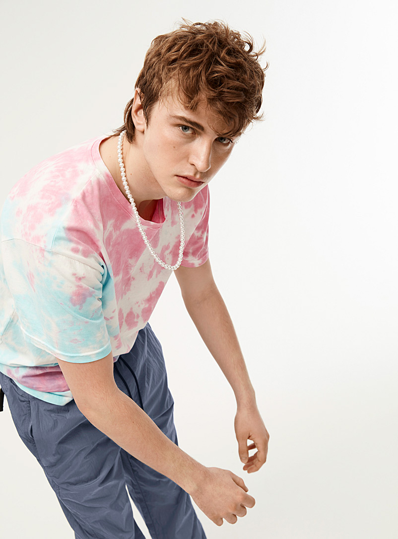 Djab Teal Cotton candy tie-dye tee for men