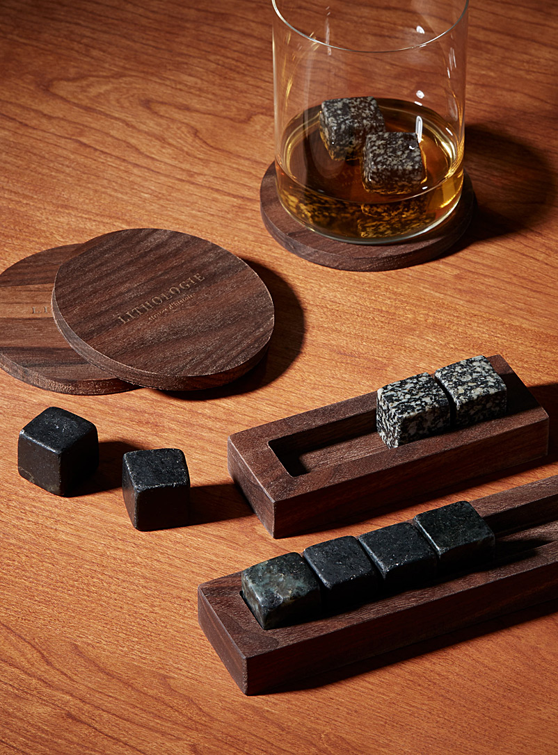 Hornblende gneiss large whiskey tasting set - Lithologie - Black