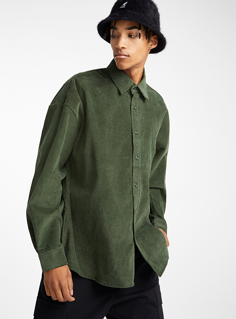 Loose corduroy overshirt - Long sleeves - Green