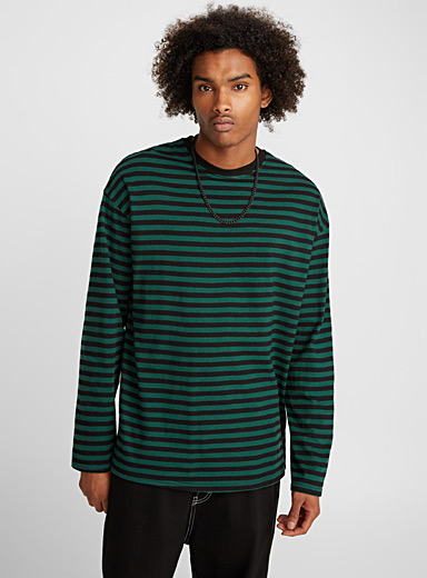 Two-tone horizontal stripe T-shirt