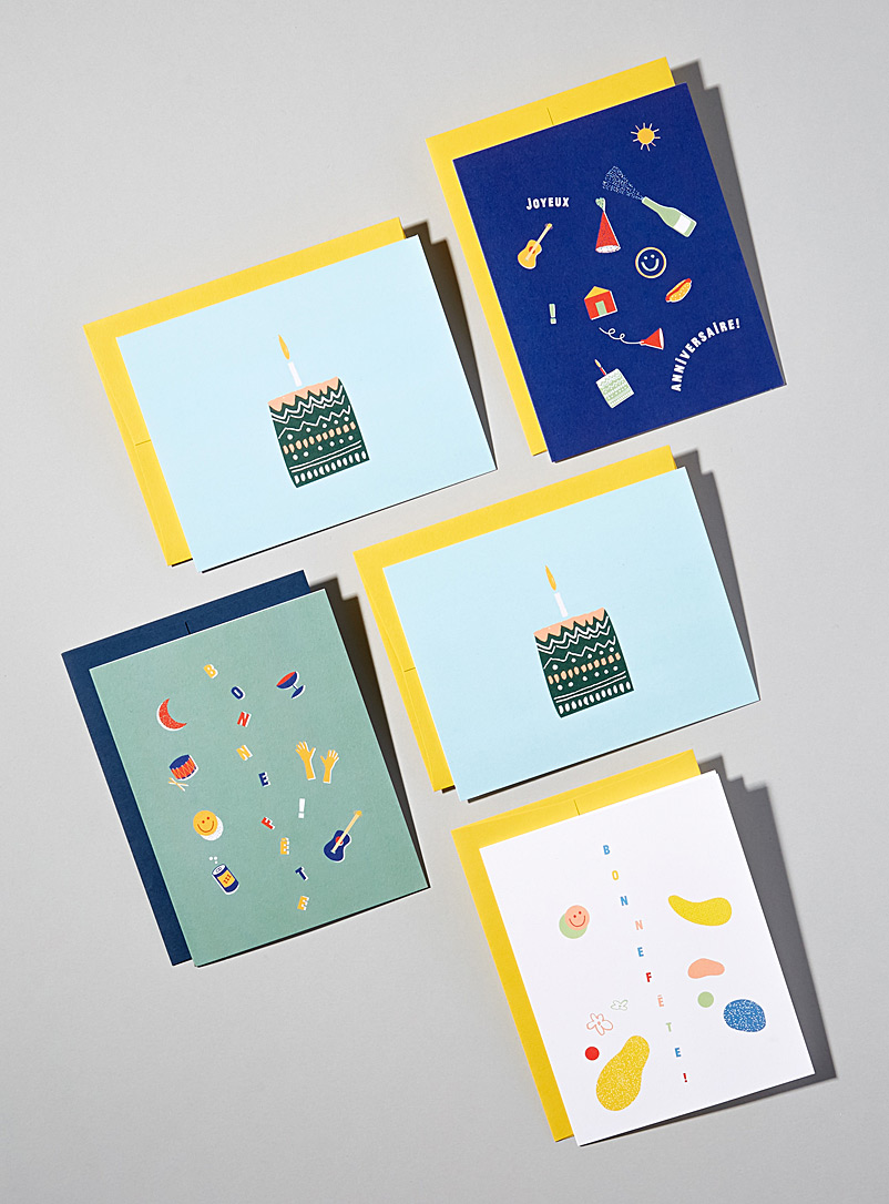 Birthday cards  Set of 5 - Bien à vous studio - Assorted