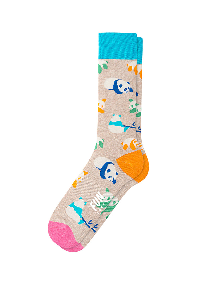 Fun Socks Light Brown Neon panda socks for men