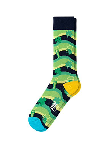 Fun Socks Patterned Green Saint Patrick's Day socks for men