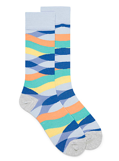 Fun Socks Baby Blue Pastel wave socks for men