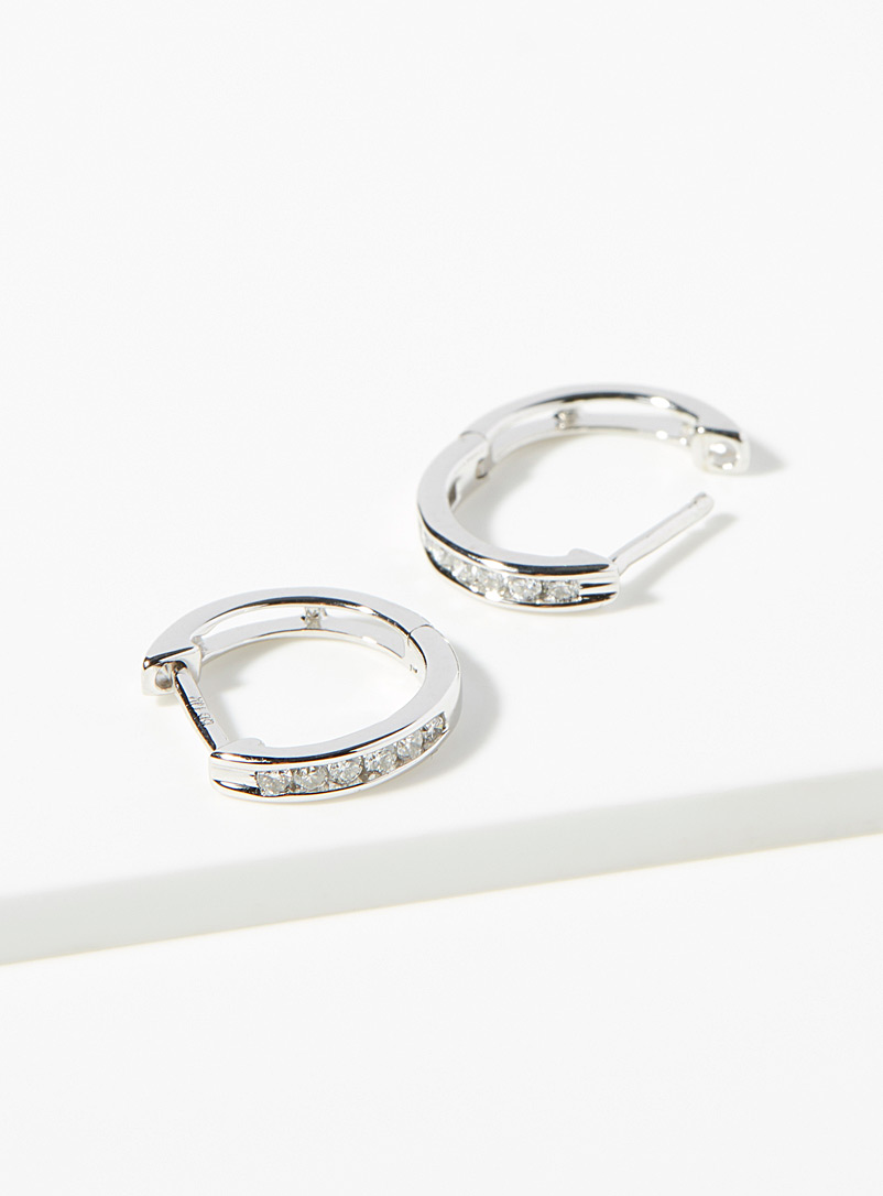 White gold and diamond hoops - Designer Jewellery - Silver