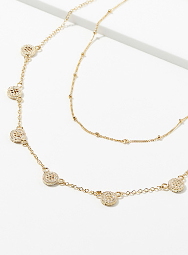 Golden discs multi-row necklace