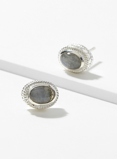 Polished labradorite earrings
