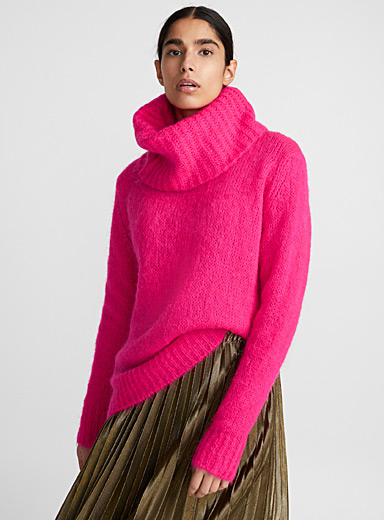 Cowl neck mohair sweater