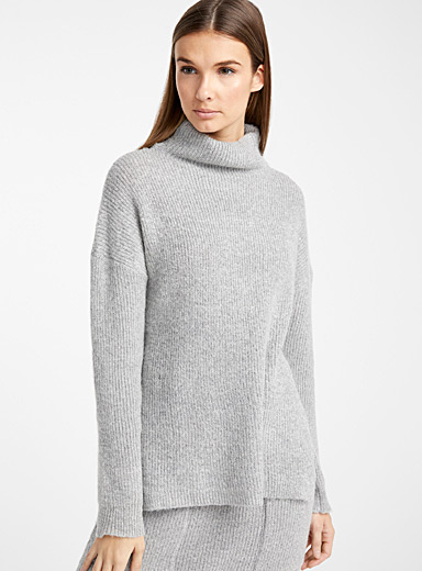 Loose high-neck ribbed sweater