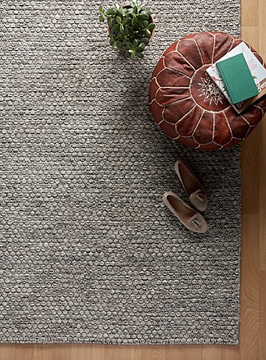Natural heather wool rug