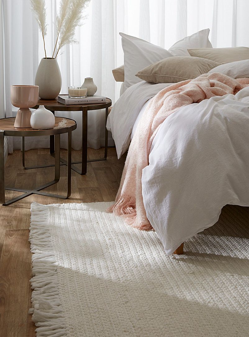 Simons Maison Ivory White Knotted recycled polyester artisanal rug See available sizes