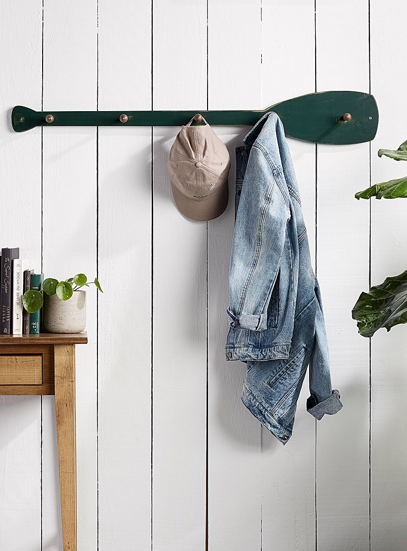 Springwater Woodcraft Green Paddle wall coat rack