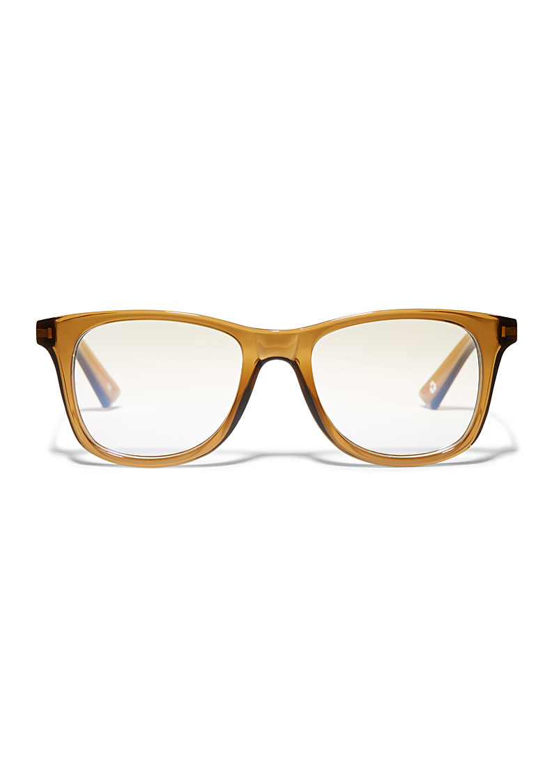 The Book Club Light Brown Grime In Banishment rectangle reading glasses for women